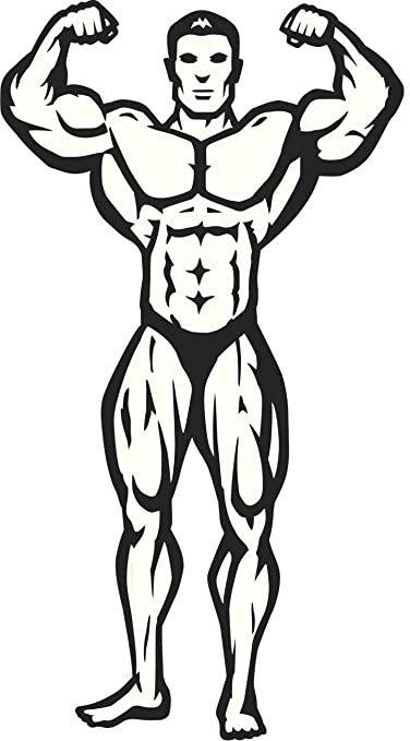 Amazon Com Male Bodybuilder Muscle Pose Black White Vinyl Decal