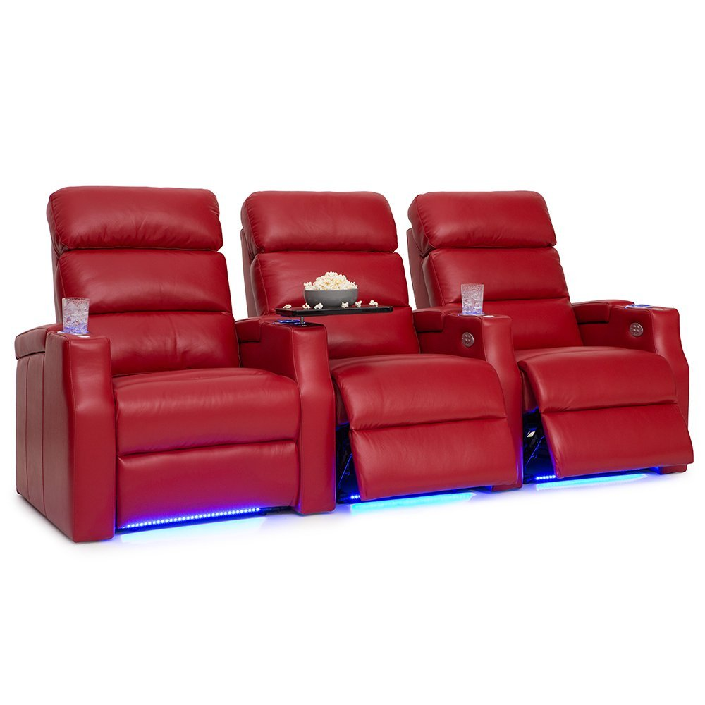 Barcalounger Matrix Leather Home Theater Seating Chairs Power Recline - (Row of 3, Red)
