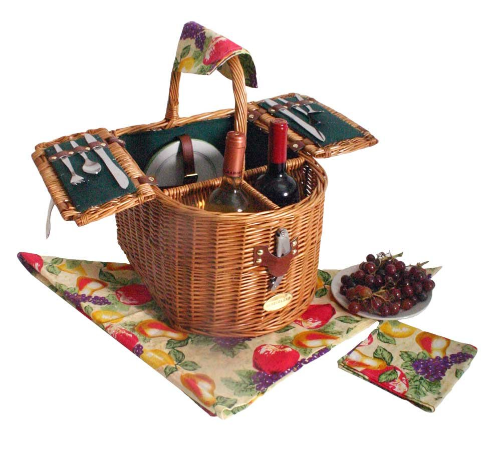Sutherland Baskets Doppio Vino Picnic Basket in Hunter Green Lining