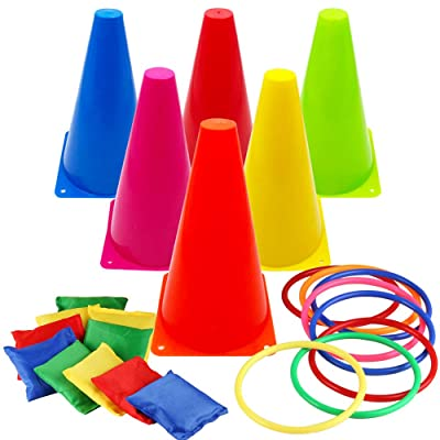 Asecinc 3 in 1 Carnival Games Set, Soft Plastic Cones Cornhole Bean Bags Ring Toss Games for Carnival Kids Birthday Party Indoor Outdoor Games Supplies: Toys & Games