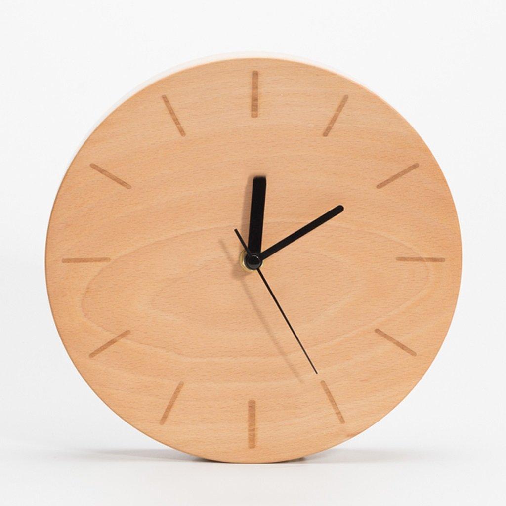 掛け時計 ソリッドウッド凹面ウォールクロックシンプルな近代的なファッション風ミュートムーブメントリビングルームベッドルーム木製時計 Rollsnownow (色 : B) B07BMWH6DZ B B