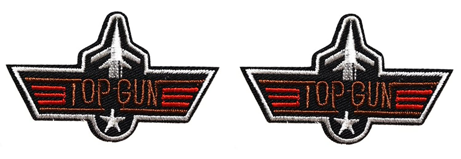2 ecusson top gun aile avion us air force pilote usa aviateur thermocollant 7x4,5cm patche badge