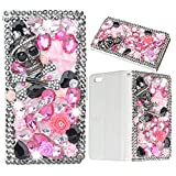 Evtech(tm) Skull Rhinestone Bling Crystal Glitter Book Style Folio PU Leather Wallet Case with Handbag Phone Holder & Card Slots for LG G3 mini