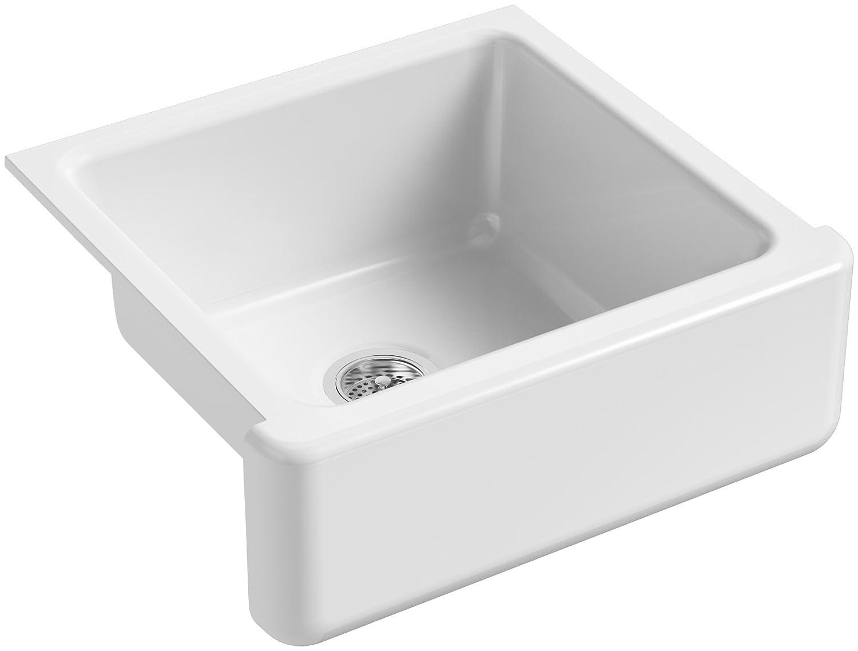 KOHLER K-5665-0 Whitehaven Farmhouse Self-Trimming Undermount Single-Bowl Kitchen Sink with Tall Apron, 23-11 16 x 21-9 16 x 9-5 8-Inch, White