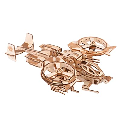 Wooden Model 3D Puzzles for Adults Wooden Laser Engraving DIY Safe Assembly Airplane Kit for Kids Teens and Adults Scorpion Warcraft Model 3-D Models Self-Assembly Wood Crafts 3D Puzzle Gifts: Toys & Games