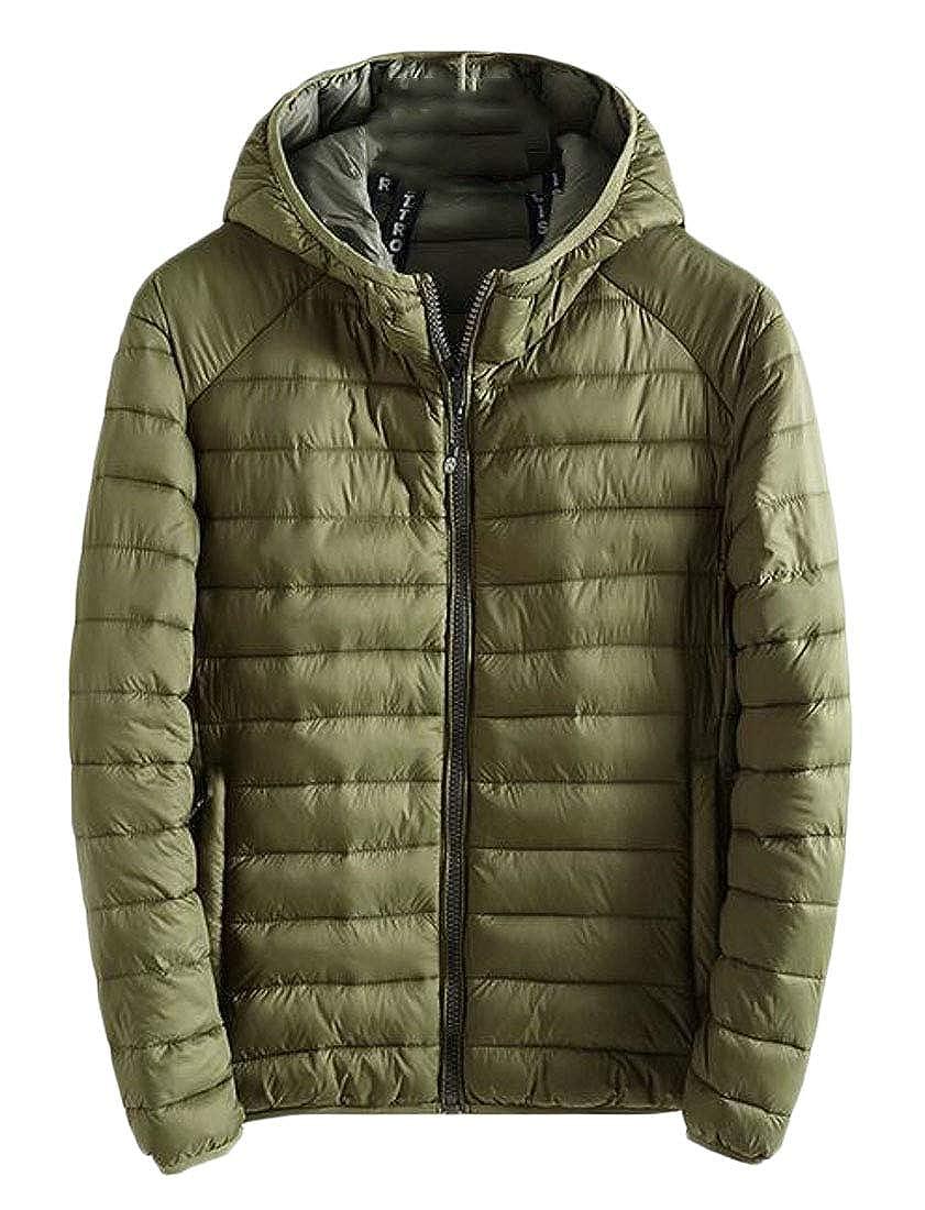 Hajotrawa Men Overcoat Lightweight Zipper Puffer Hooded Parkas Coats Jacket