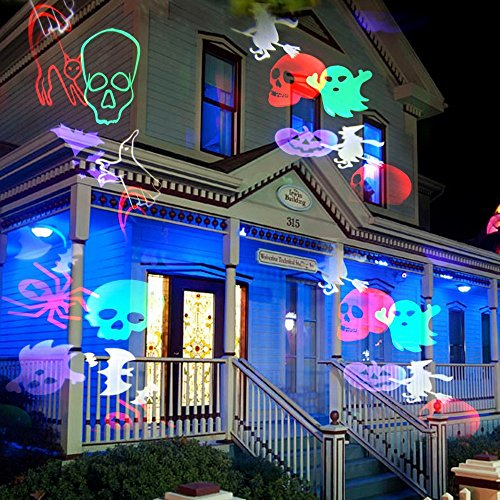 LightMe Outdoor Snowflake Spotlights, Waterproof LED Projection Lamp Auto Moving Landscape Light with 10PCS Switchable Pattern Cards for Christmas, Landscape, Party, Home Decor, etc. (Colorful Light) by LightMe (Image #5)