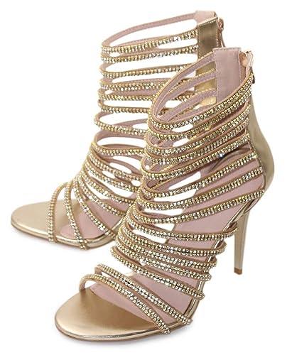 8f5282f47656a Hinyyrin Women's Tassels Rhinestone Heeled Sandals Wedding Dress White  Sandals Stiletto Heel Pearl
