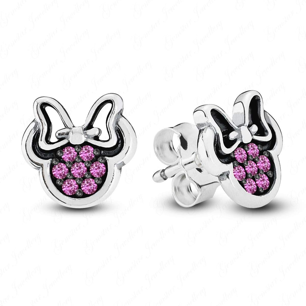 Gemstar Jewellery 18K White & Black Gold Finish Round Pink Sapphire Minnie Mouse Icon Disney Earrings