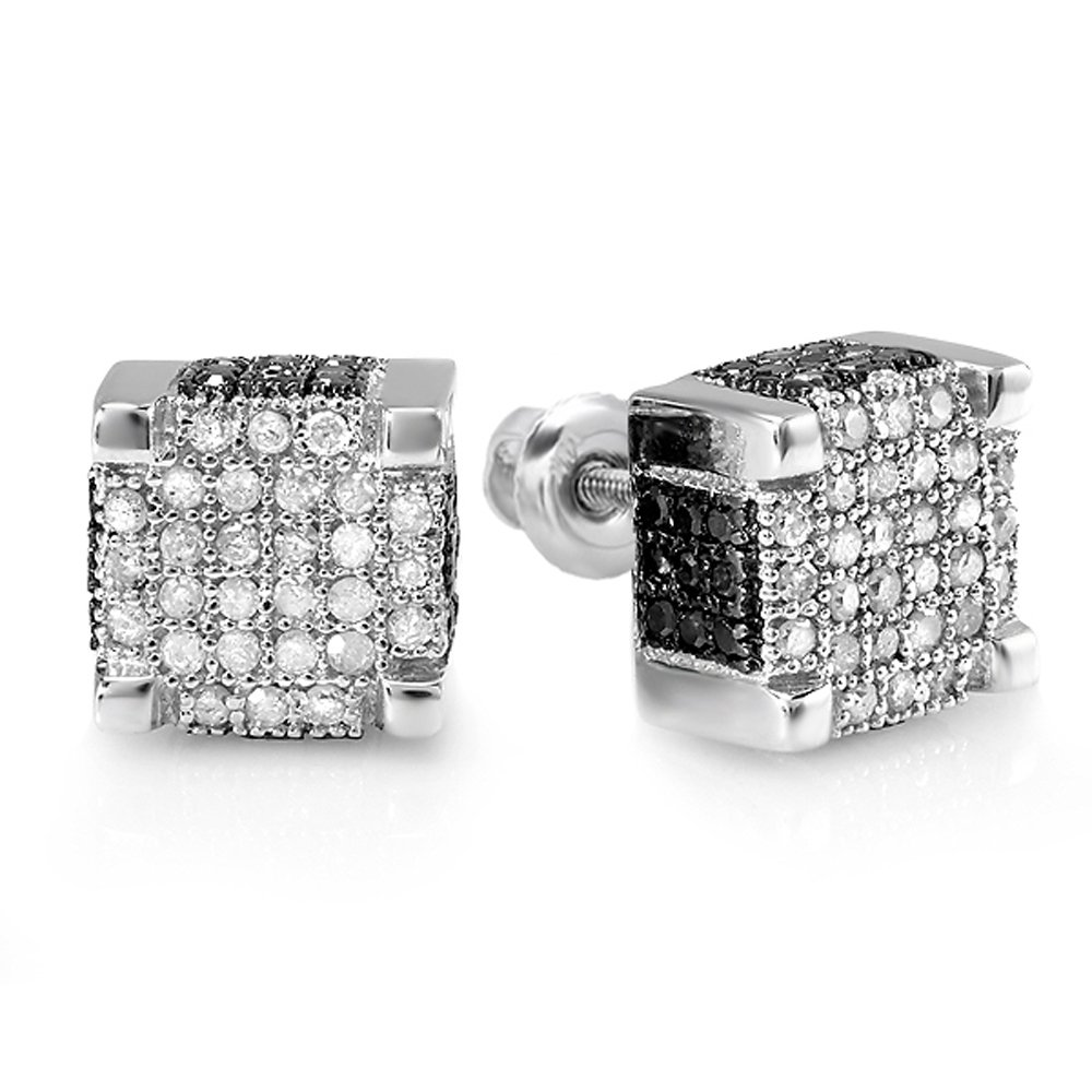 0.97 Carat (ctw) 10K White Gold Round Black And White Diamond Mens Ice Cube Hip Hop Stud Earrings 1 CT