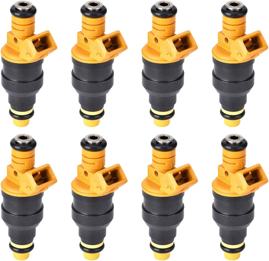 280150943 0280150939 0280150909 New Fuel Injector Set of 8 5.4L Lincoln and Mercury 4.6L F250 E350 5.0L Fits 1992-2004 Ford E250 F350 F150 Yellow 5.8L Vehicles Mustang