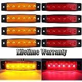 FXC 6 LED Clearence Light Front Rear Side Marker Indicators Light for Truck Car Bus Trailer Van Caravan Boat, Taillight Brake Stop Lamp 12V (4 Amber+4 Red)