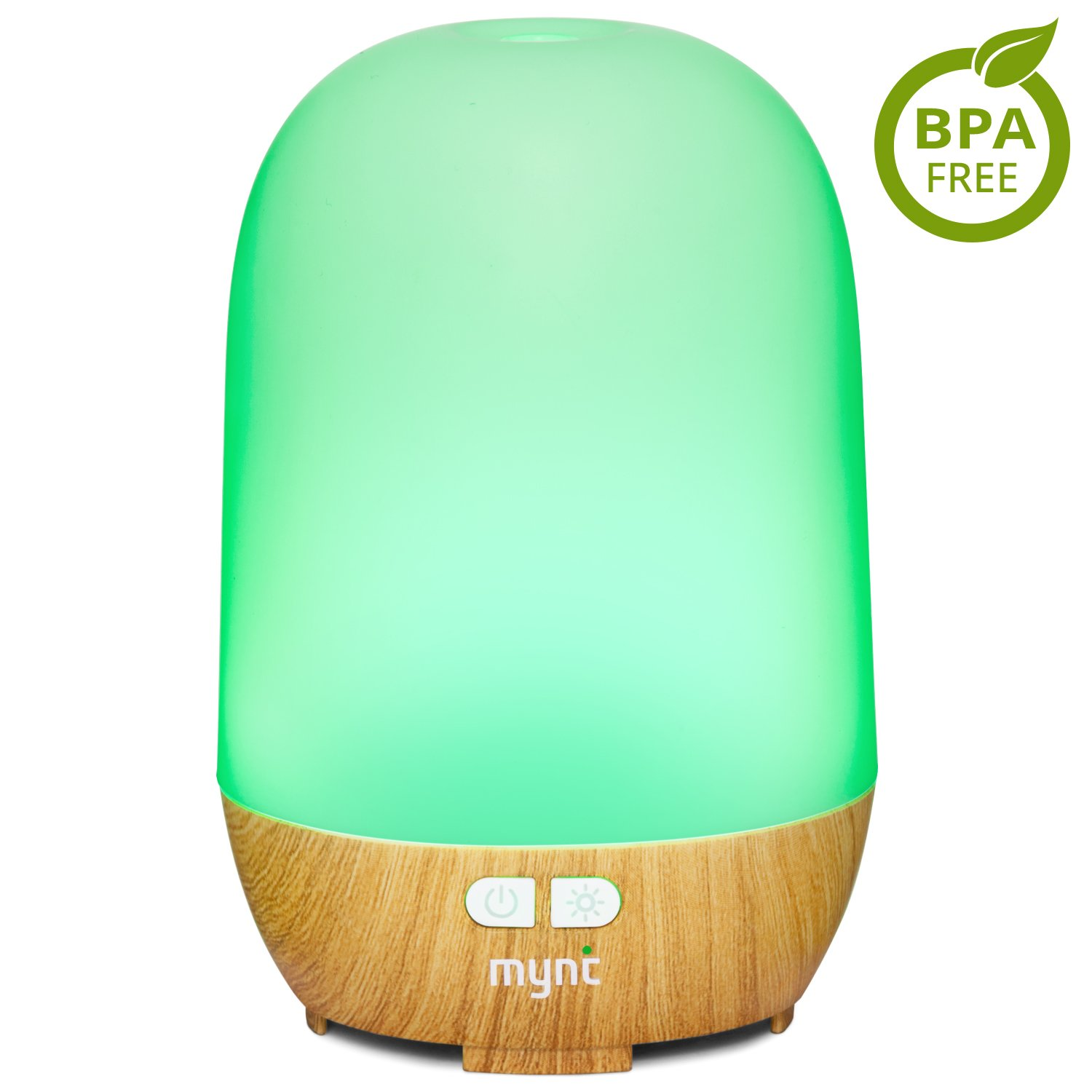 Mynt Woodgrain Essential Oil Diffuser (100ml) 10+ Hours of Humidifying Mist for Healthier Bedrooms, Living Rooms, Studios, Offices and more. 7 Colors Streamline Design, BPA-Free & FDA Approved OceanPal Technology