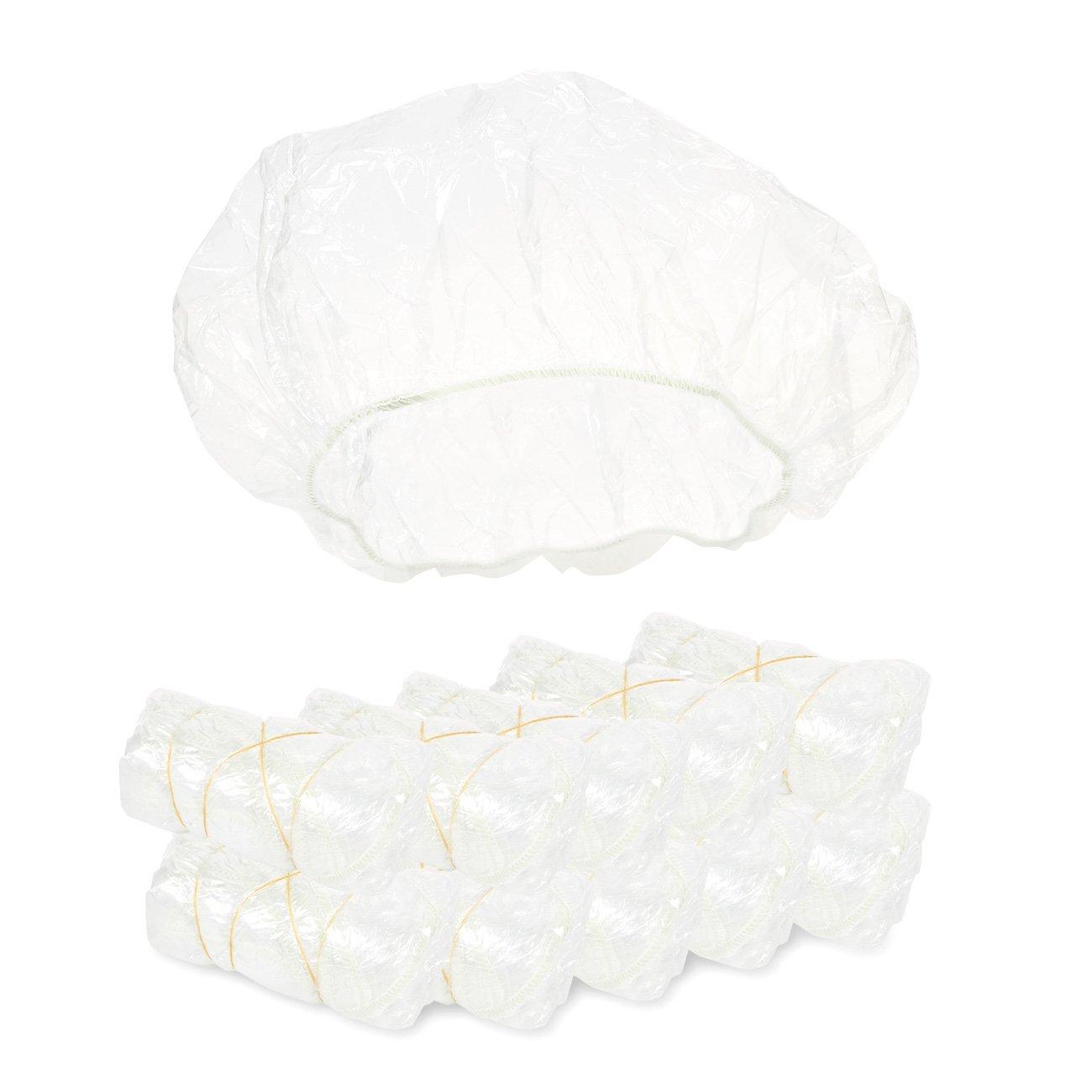 Juvale Lot de 100Bonnets de Douche–Plastique Cheveux Caps–Traitement caches Clair,