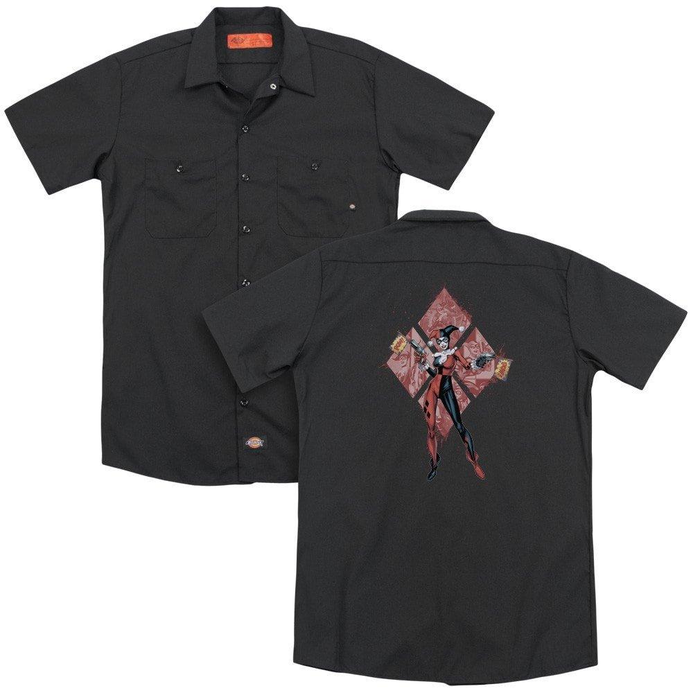 Adult Work Shirt Diamonds Harley Quinn Batman