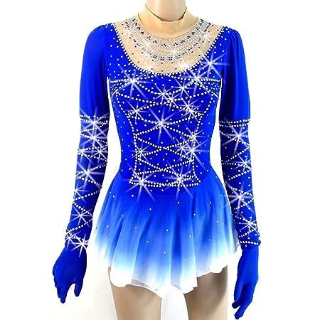 Vestido De Patinaje sobre Hielo Artístico Azul Falda De Patinaje ...
