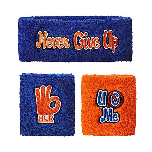 [John Cena Headband Wristband Sweatband Set Choice of Color-Blue/Orange] (Wwe Wrestling Costumes For Adults)