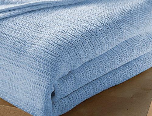 in 100/% cotone cellulare Coperta per letto matrimoniale colore blu dimensioni 230 x 230/cm.