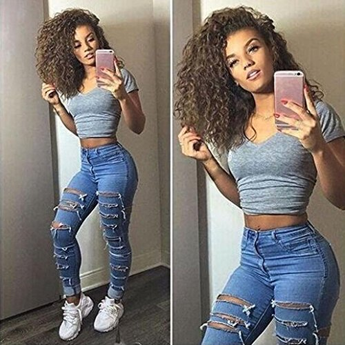 Jeans Pants Blue Slim Pencil Ripped New Fashion Stylish Ladies Waist High Skinny Women Stretch Denim Trousers HF8BqxI