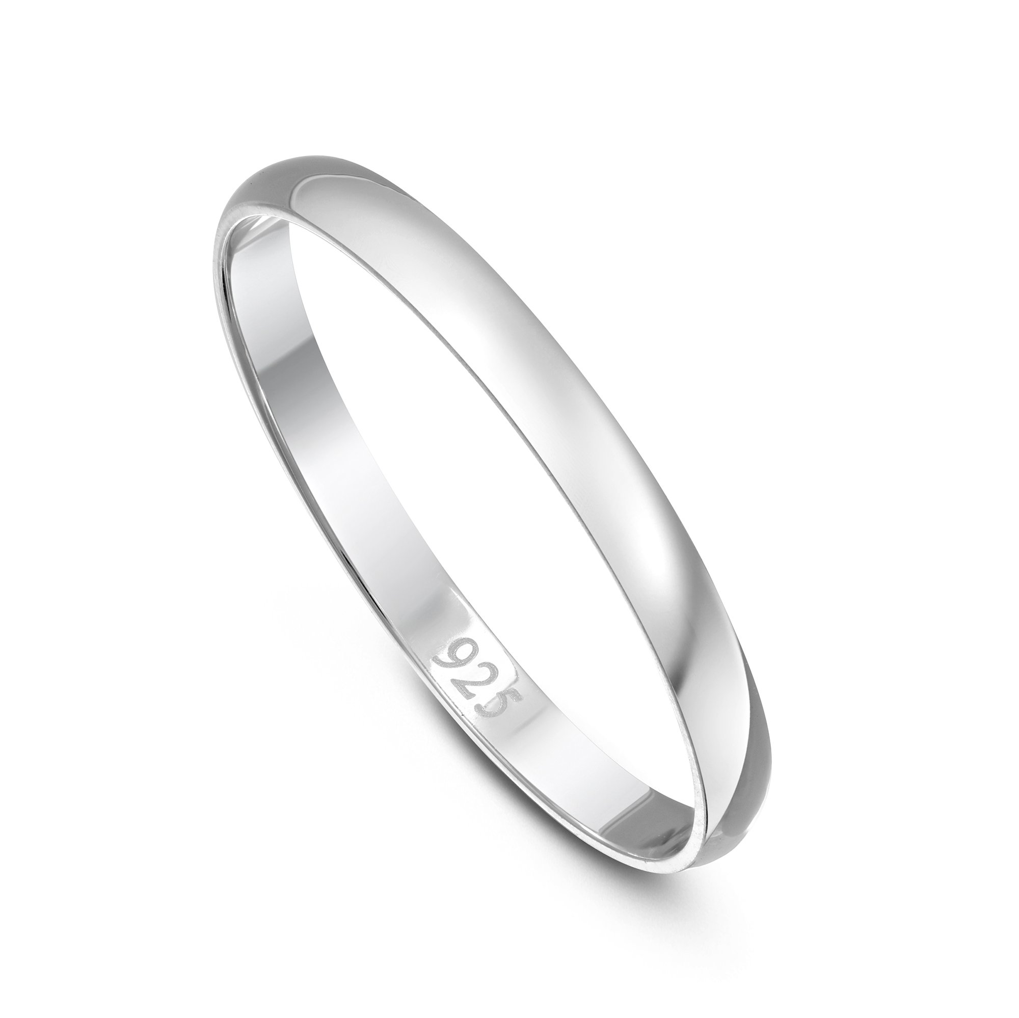 DTLA Solid 2mm Round Plain .925 Sterling Silver Wedding Band Sizes 2-12