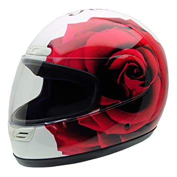 NZI 3D Activity Rose N Roll Casco de Moto, Fondo Blanco y Rosa