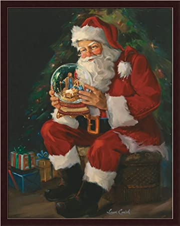 Image result for Santa holding a snow globe of nativity scene
