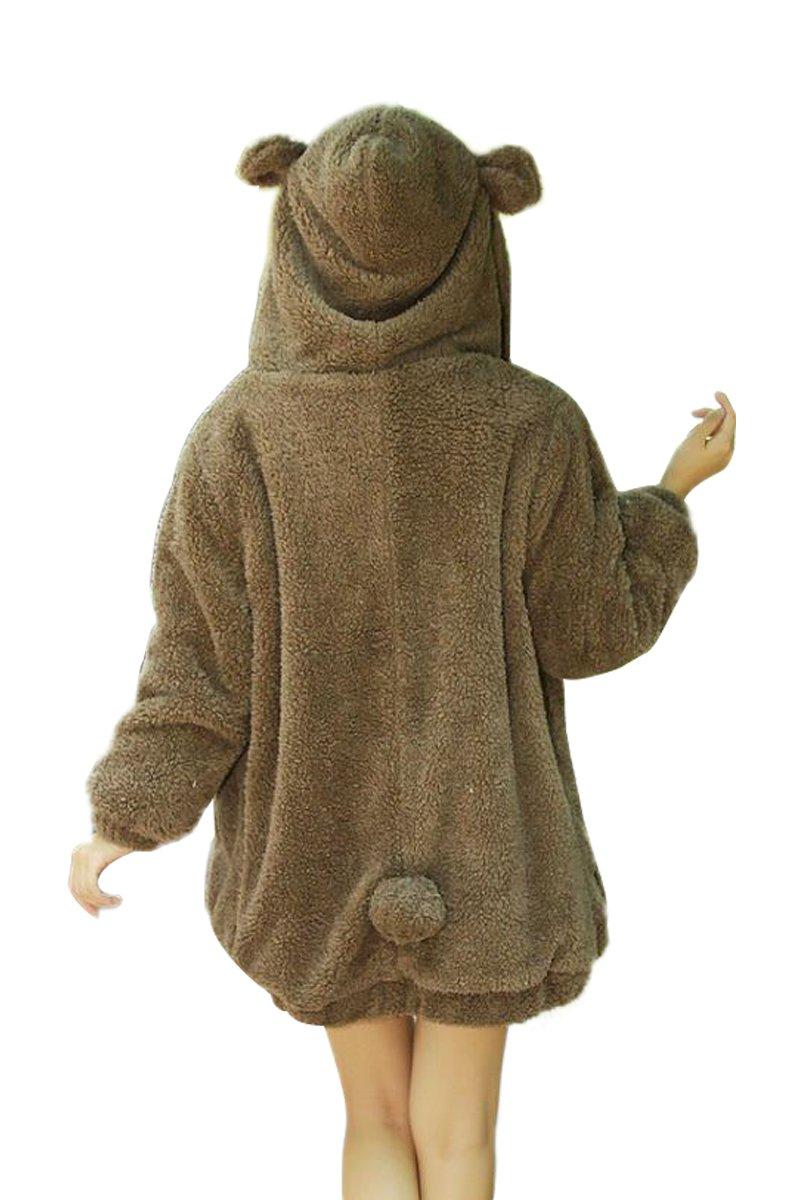 YMING Women Warm Cute Coat Cartoon Bear Ear Hoodie Baggy Outerwear Jacket Coat Brown