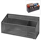 3-Compartment Modern Black Metal Desk Office Supply Holder & Mail Sorter w/ Perforated Design