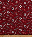 Cotton McCormick Farmall Logos International Harvester Farming Farms Farmer Country Red Cotton Fabric Print by the Yard (10177)