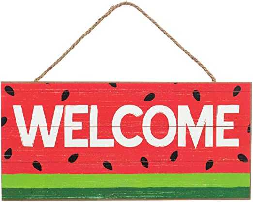 Amazon Com Giftwrap Etc Summer Front Door Welcome Sign 12 X 6 Pink Green Watermelon Hanging Sign Decor Easter Spring Summer Decorations Patio School Fundraiser Porch 4th Of July Home Kitchen