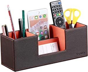 Leather Desk Organizer with 4 Compartments, Card/Pen/Pencil/Mobile Phone Stand Office Supplies Holder Desktop Remote Caddy, Home and College Dorm Decor Accessories Storage Box for Women (Orange)