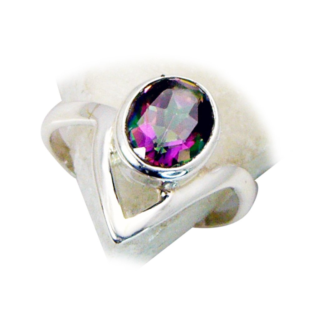 Jewelryonclick Mystic Quartz Sterling Silver Statement Rings Jewelry Oval Cut Size 4,5,6,7,8,9,10,11,12
