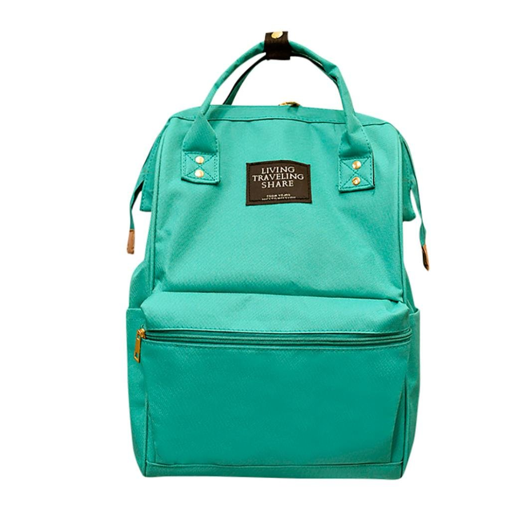 Cinhent Backpacks Unisex Solid Color Fashion Simple Backpack, School Travel Bag Womens Double Cusaual Diaper Shoulder Bag, Boys Girls Zipper Books Bag (Green)