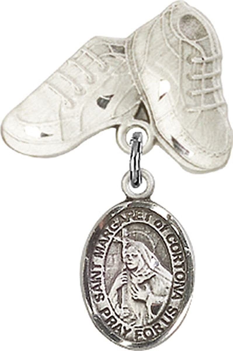 Sterling Silver Baby Badge Baby Boots Pin with Charm 3//4 Inch