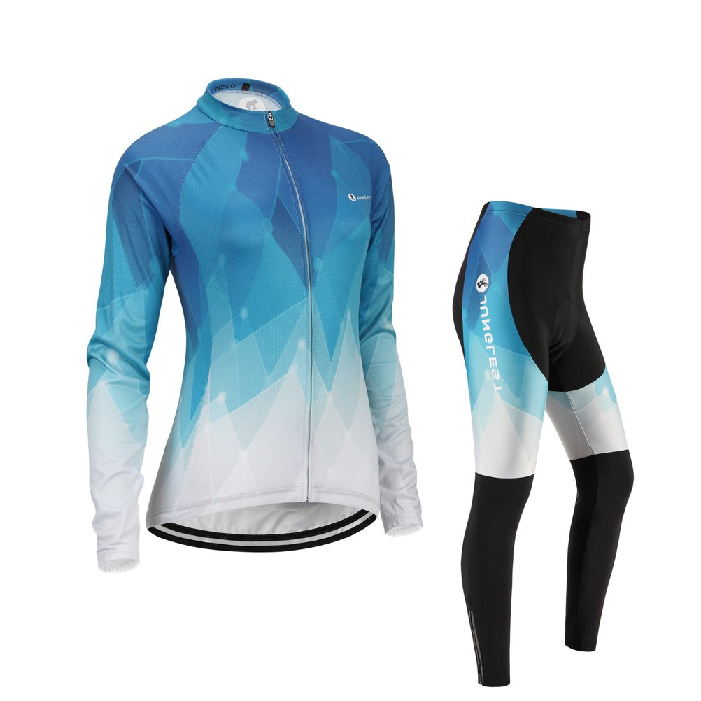 Women's Cycling Jersey and Pants Set, Long Sleeve with 3D Pad for Fall and Winter JUNGLEST