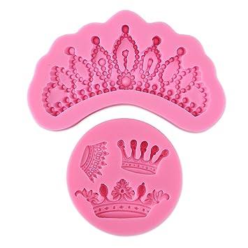 2 x corona molde de silicona Fondant Moldes Azúcar Craft Decoración de Pasteles hornear herramienta: Amazon.es: Hogar