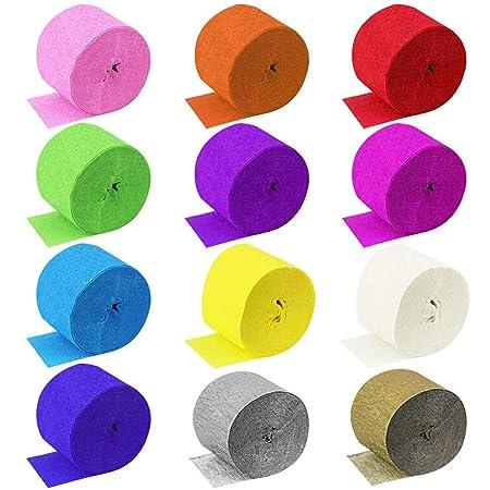DECARETA 30 Rollos Papel Crepé de 12 Colores,Papel Pinocho para Diversas Fiestas de Cumpleaños,Bodas,Decoración para Pared,Diy Manualidades,Los ...