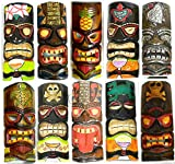 #6: SET OF 10 HAND CARVED POLYNESIAN HAWAIIAN TIKI STYLE MASKS 12 IN TALL