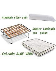 HOGAR24 ES Colchón Visco-Aloe + Somier Basic + Almohada De Fibra