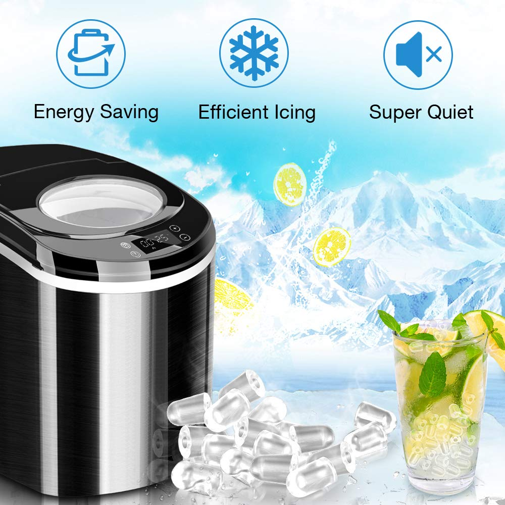 Portable Ice Maker Machine for Countertop Timer Ice Scoop and Basket Perfect for Parties Mixed Drinks 26 lbs // Day with LED Display Ice Cubes Bullets Ready in 6~8 Mins Air Choice Ice Maker
