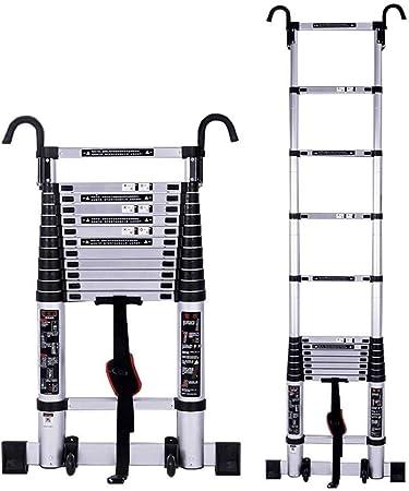 Escalera telescópica Subir telescópica Escalera Con la barra estabilizadora y el gancho, de aluminio altas escaleras for varios tamaños for al aire libre Inicio Loft de techo RV uso, carga 150kg: Amazon.es: