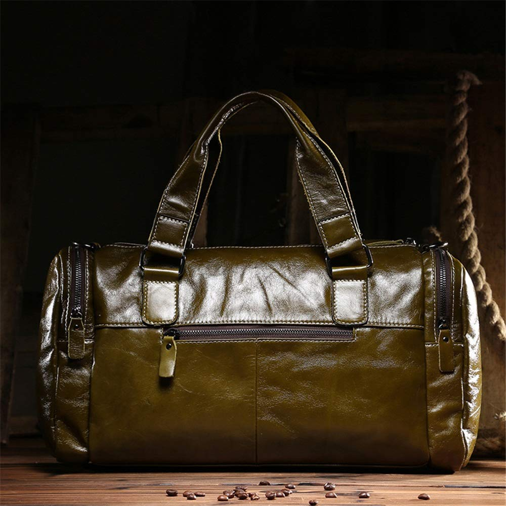 Ybriefbag Unisex Oil Wax Leather Bag Leather Bag Travel Bags Large Capacity Bag Business Travel Man Bag Vacation