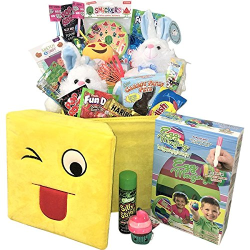 Giant Easter Basket Filled with Toys, Candy & The Eggmazing Egg Decorator Kit - Perfect Easter Gift for Kids & the Family by TastefulTreats.com