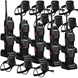 Retevis H-777 Walkie Talkie 16CH UHF 400-470MHz 2 Way Radio Handheld Ham Amateur Radio(10 Pack) and 2 Pin Speaker Mic (10 Pack)
