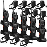 Retevis H-777 Walkie Talkie 16CH UHF Radio 2 Way Radio Handheld Radio VOX Radio Long Range Walkie Talkies with Speaker Mic Two Way Radio with Mic (10 Pack)
