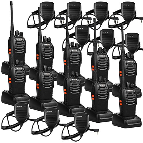 Retevis H-777 Walkie Talkie 16CH UHF Radio 2 Way Radio Handheld Radio VOX Radio Long Range Two Way Radio with Speaker Mic 10 Pack