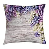 Ambesonne Rustic Home Decor Throw Pillow Cushion Cover, Lilac Flowers Bouquet on Wood Table Spring Nature Romance Love Theme, Decorative Square Accent Pillow Case, 24 X 24 Inches, Violet Brown