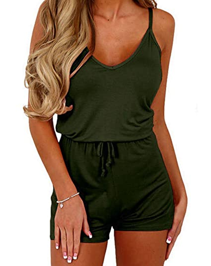 1ccd3209742 Amazon.com  Faithtur Women s Strappy Sleevless Rompers Short Outfit for  Summer  Clothing