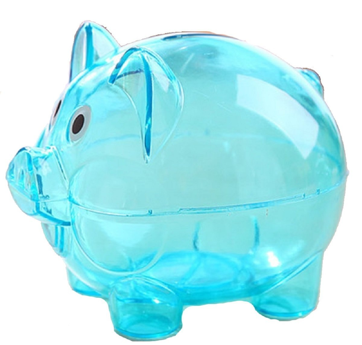 Piggy Bank for Kids - Colorful Transparent Money Saving Box - Boys Girls Cute Cartoon Money Pot (Large, Blue) F&U