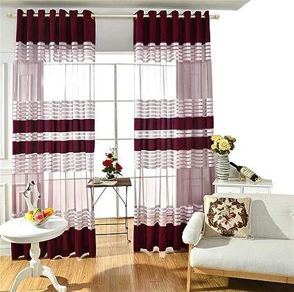 Amazon Com Etry Wine Red White Stripe Sheer Window Curtain Panels
